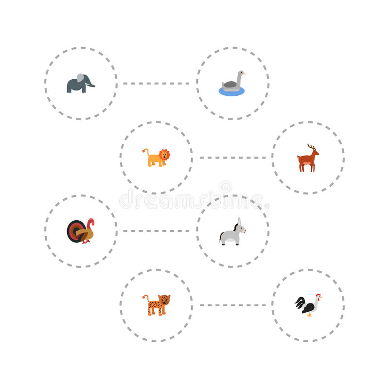 平的象削去头的动物、公驴、Waterbird和其他传染媒介元素 套动物平的象标志并且包括 库存例证
