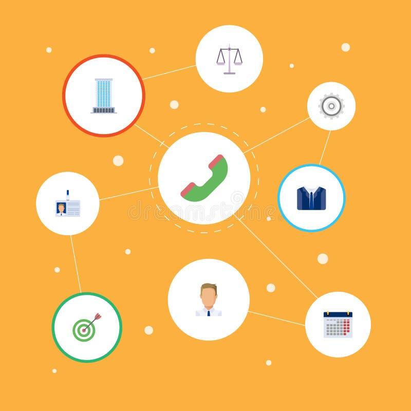 平的象办公室、日历、Id卡片和其他传染媒介元素 套企业平的象标志并且包括办公室 向量例证