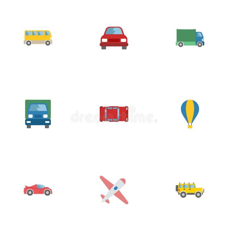 平的象吉普、汽车、航空器和其他传染媒介元素 套车平的象标志并且包括吉普 库存例证