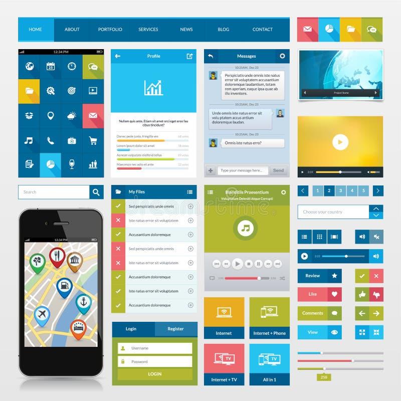 平的象和ui网元素流动app的和  向量例证