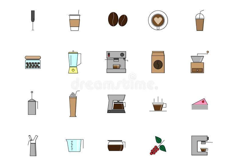 平的象咖啡具 免版税库存照片
