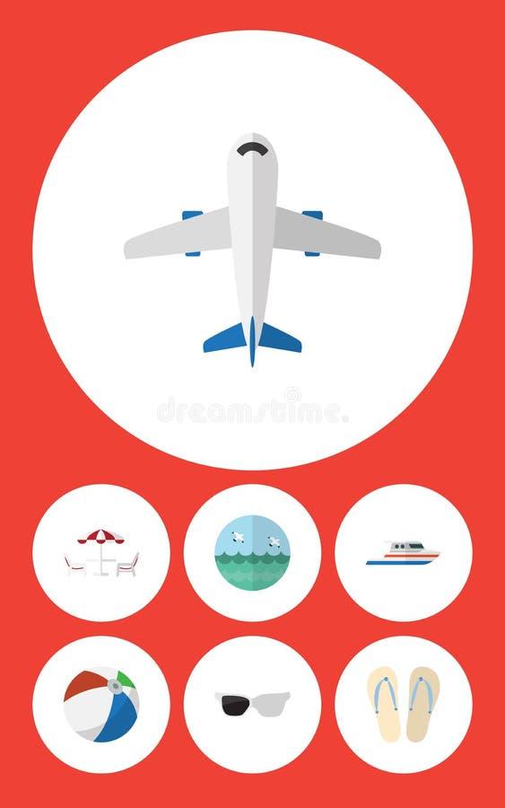 平的象夏天套航空器、球形、小船和其他传染媒介对象 并且包括游艇,小船,球元素 向量例证