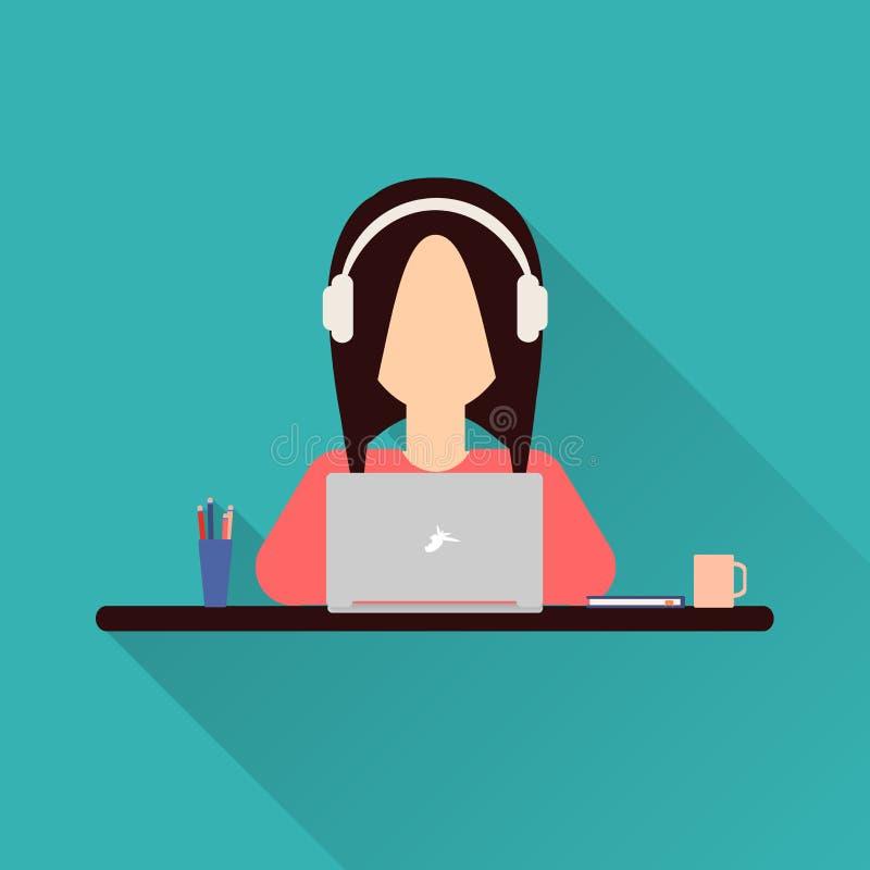 平的象妇女 工作在膝上型计算机的妇女坐在她的书桌 向量例证