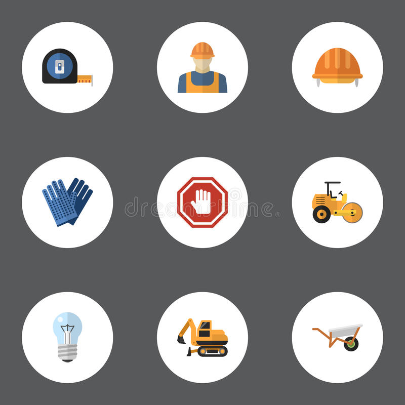 平的象手套,卷米、拖拉机和其他传染媒介元素 套建筑平的象标志并且包括 库存例证