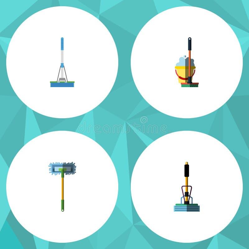 平的象擦净剂套清洁、长扫帚、笤帚和其他传染媒介对象 并且包括笤帚,拖把,桶元素 向量例证