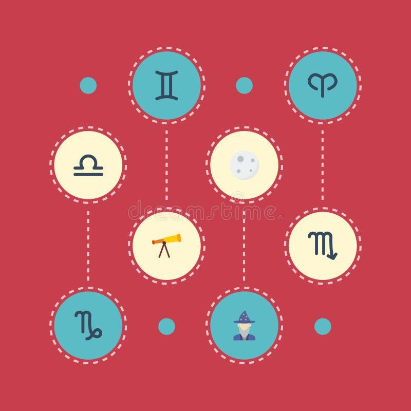 平的象标度、占卜师、山羊和其他传染媒介元素 套天文平的象标志并且包括月亮,黄道带 向量例证