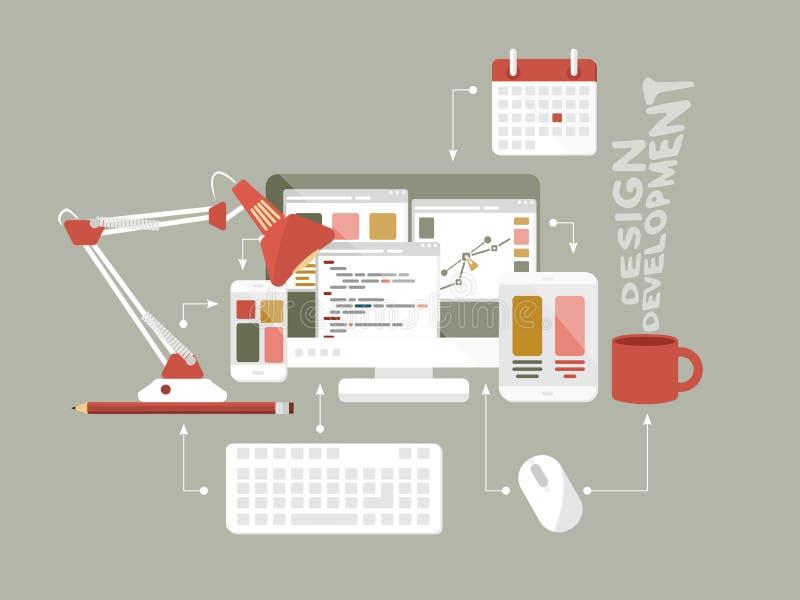 平的象网络设计传染媒介例证 向量例证
