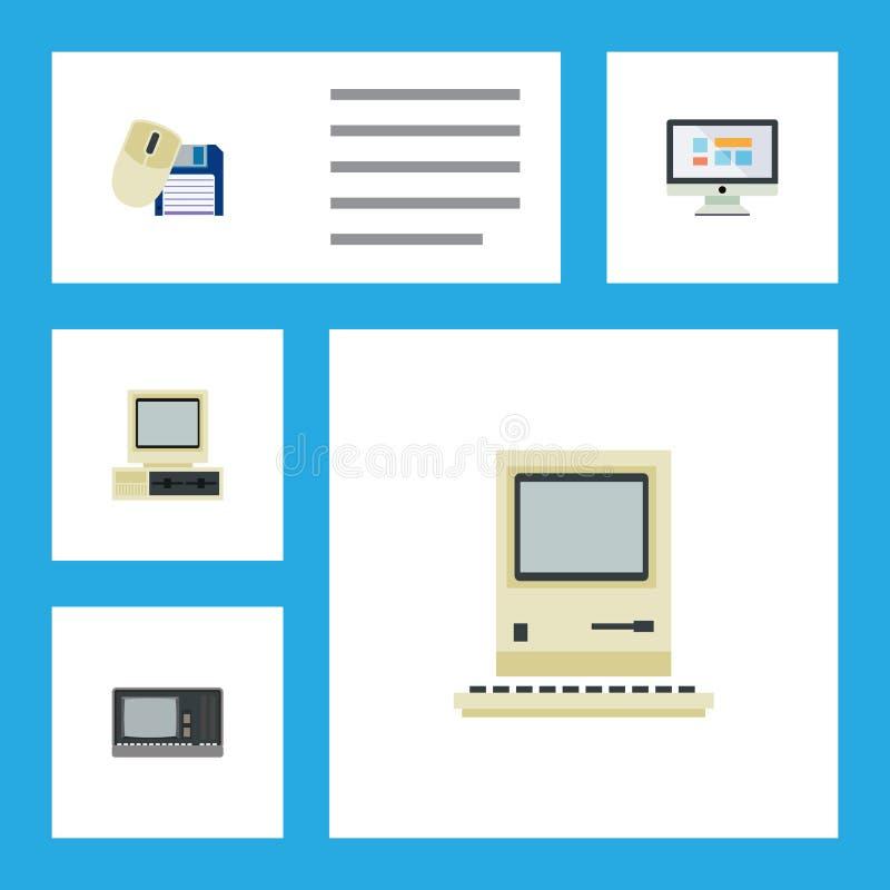 平的象膝上型计算机套计算机老鼠,计算,葡萄酒硬件和其他传染媒介对象 并且包括屏幕 向量例证