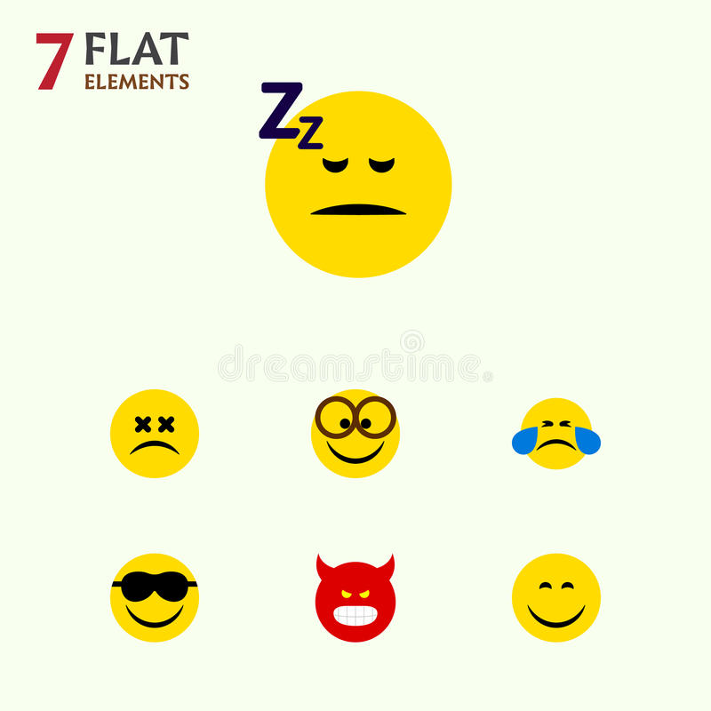 平的象表示套噘嘴,愉快,斗眼的面孔和其他传染媒介对象 并且包括泪花,面孔,微笑 库存例证