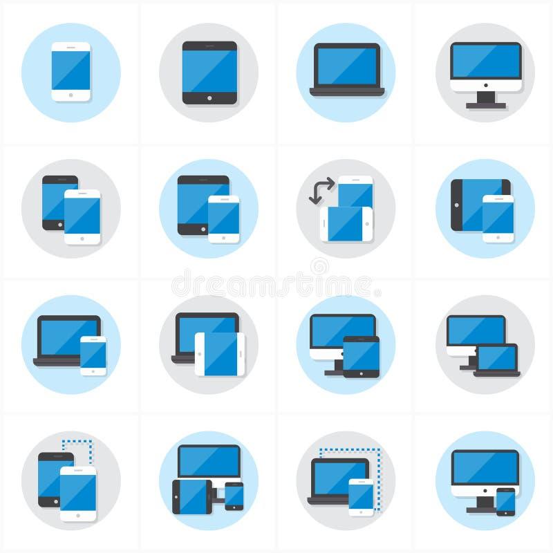平的象设备象和敏感网络设计象传染媒介例证 库存例证