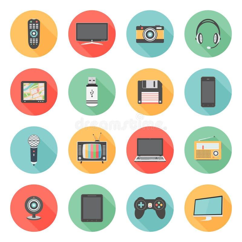 平的象设置了多媒体和技术设备 库存例证