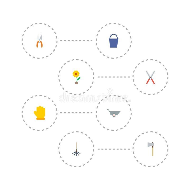平的象轴、花盆、犁耙和其他传染媒介元素 套园艺平的象标志并且包括 库存例证