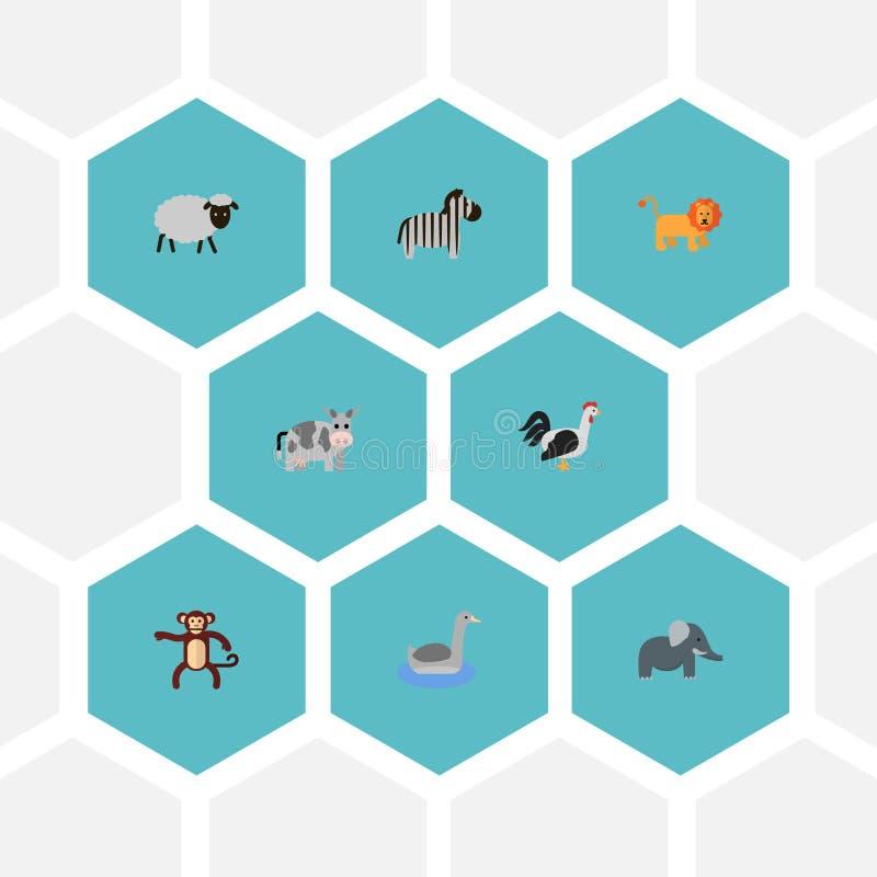 平的象Waterbird,削去头的动物、野猫和其他传染媒介元素 套动物平的象标志并且包括 皇族释放例证