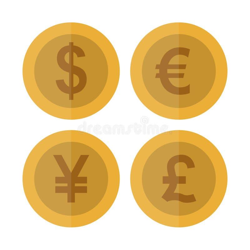 平的货币硬币集合 赌博娱乐场货币 美元,欧元,元,英镑,赌博的硬币,被隔绝的传染媒介例证 库存例证