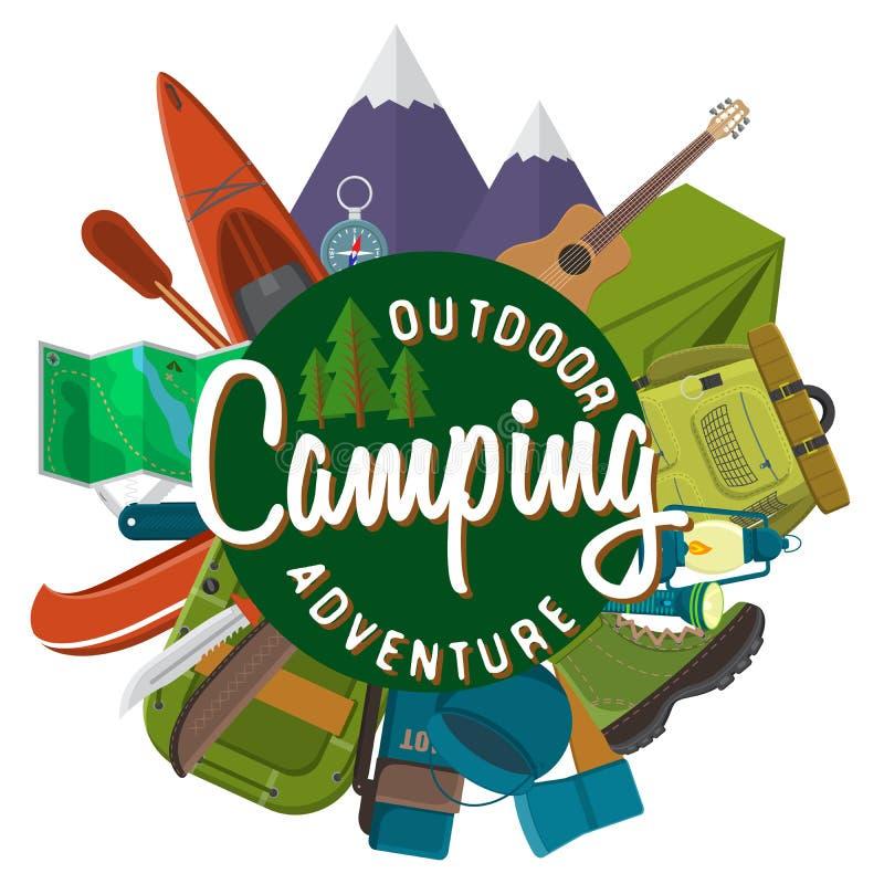 平的野营和远足设备集合的设计现代传染媒介例证 旅行和假期项目、汽车橡皮艇和鞋子, 向量例证