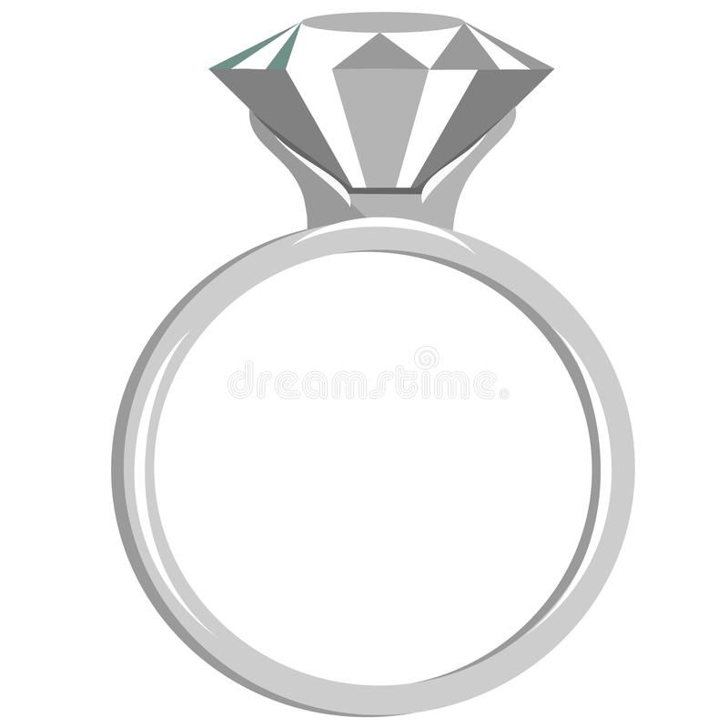 平的金刚石定婚戒指 皇族释放例证