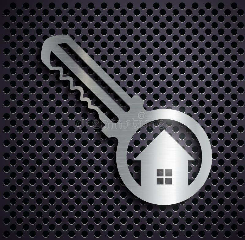 平的金属商标钥匙 向量例证