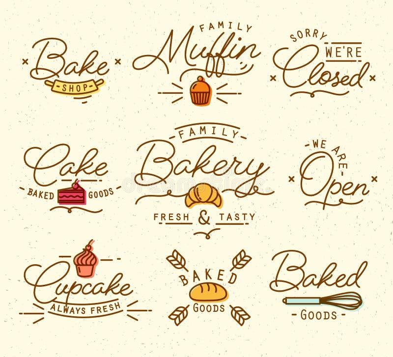 平的面包店标志褐色 库存例证
