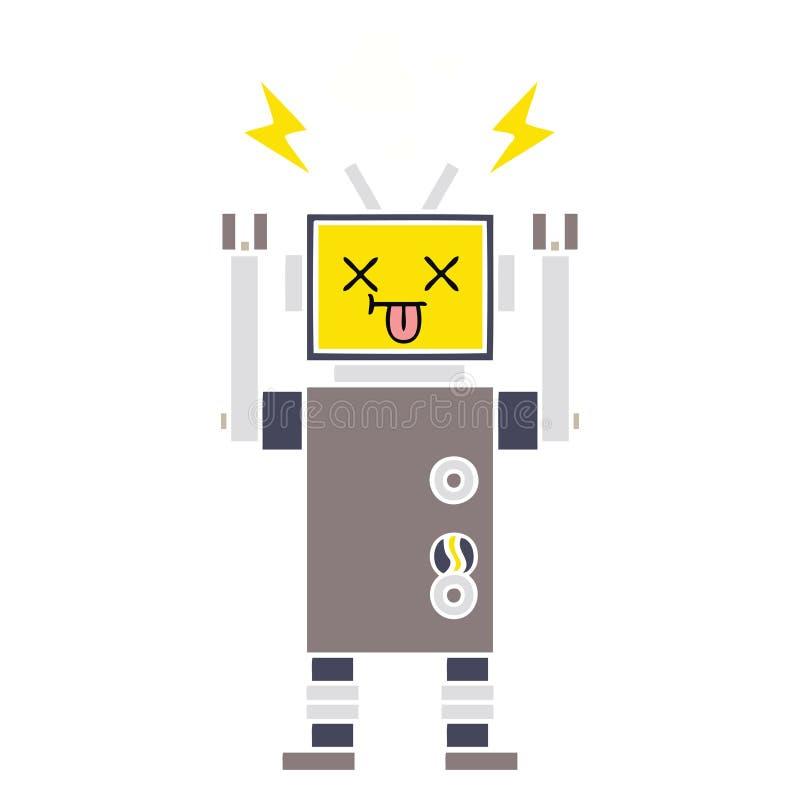 平的颜色减速火箭的动画片发生故障的机器人 皇族释放例证
