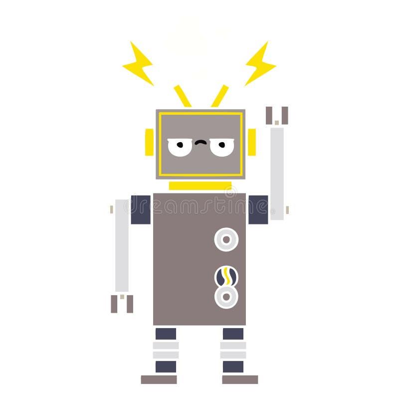 平的颜色减速火箭的动画片发生故障的机器人 向量例证