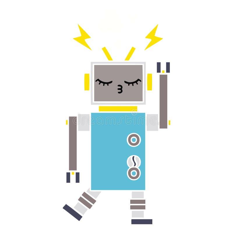 平的颜色减速火箭的动画片发生故障的机器人 库存例证