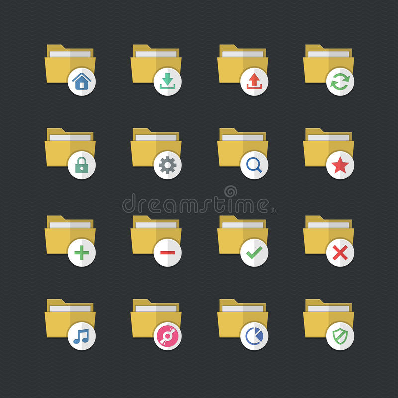 平的颜色样式文件夹象设置了1 库存例证