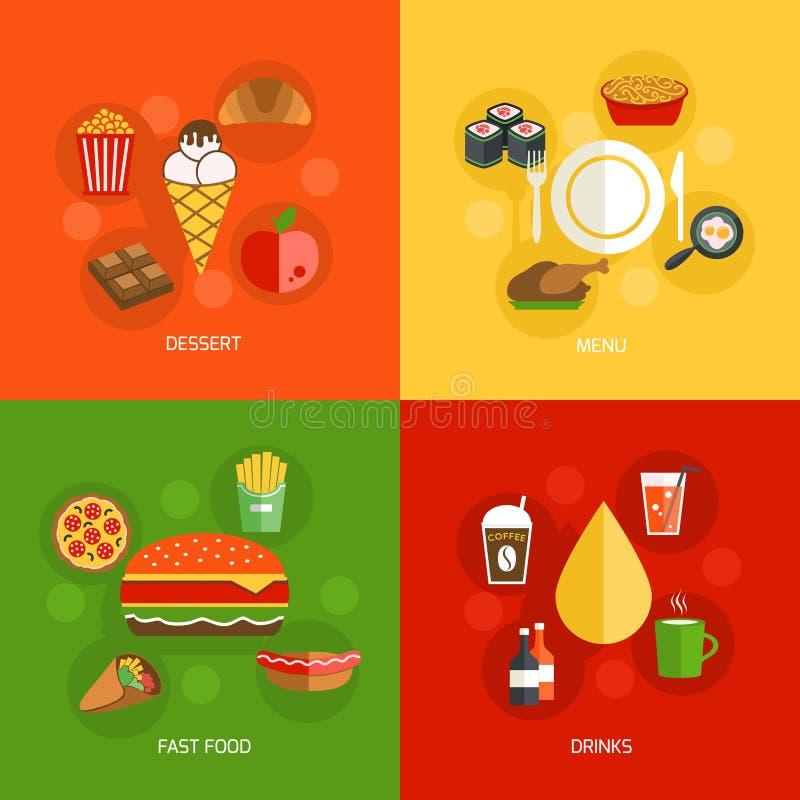 平的食品组成 库存例证