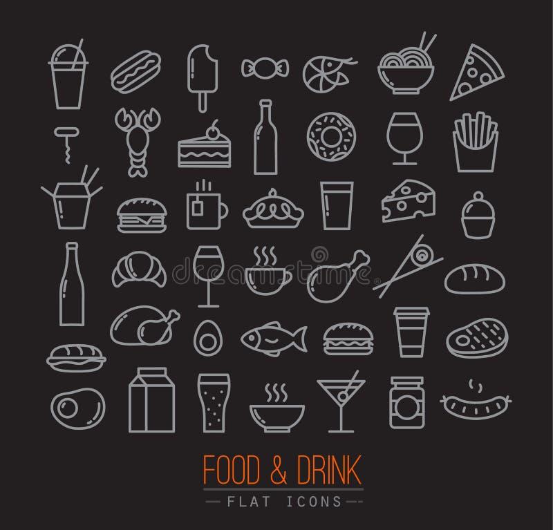 Download 平的食物象黑色 向量例证. 插画 包括有 点心, 例证, 干酪, 咖啡, 图象, 汉堡, 饮料, 食物, 面粉 - 59103606