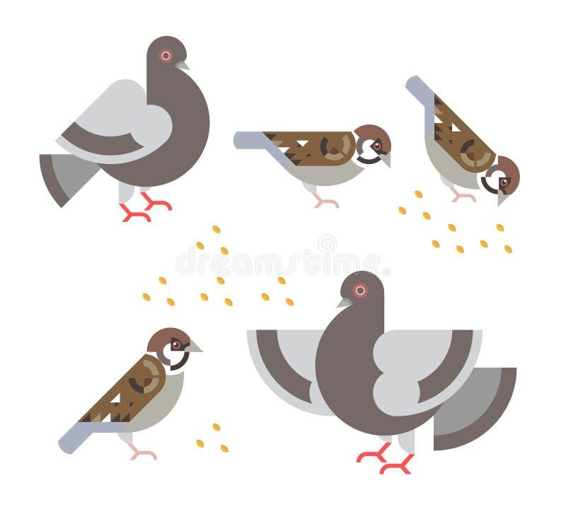 平的鸽子和的麻雀 免版税库存图片