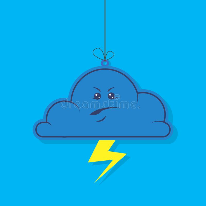 平的黑暗的恼怒的云彩的简单的传染媒介动画片例证与闪电的在蓝色背景 皇族释放例证