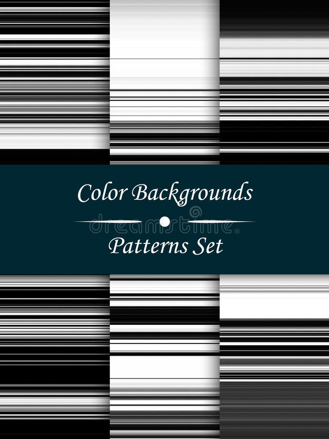水平的黑白条纹抽象背景, stretche 库存例证