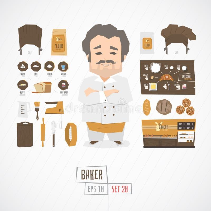 平的滑稽的charatcer面包师 皇族释放例证