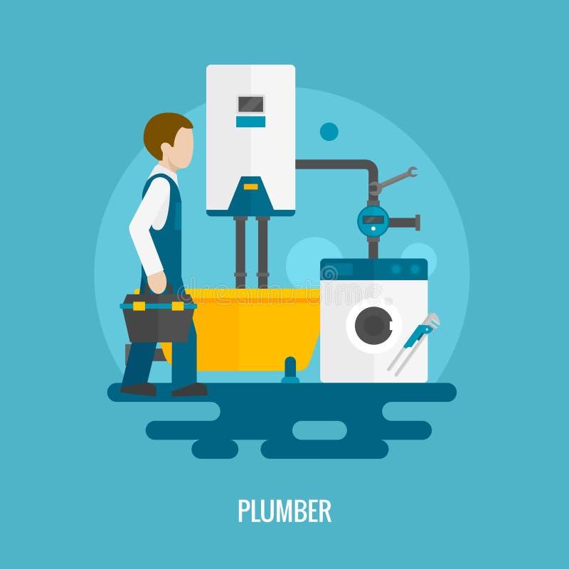 平的水管工象 向量例证