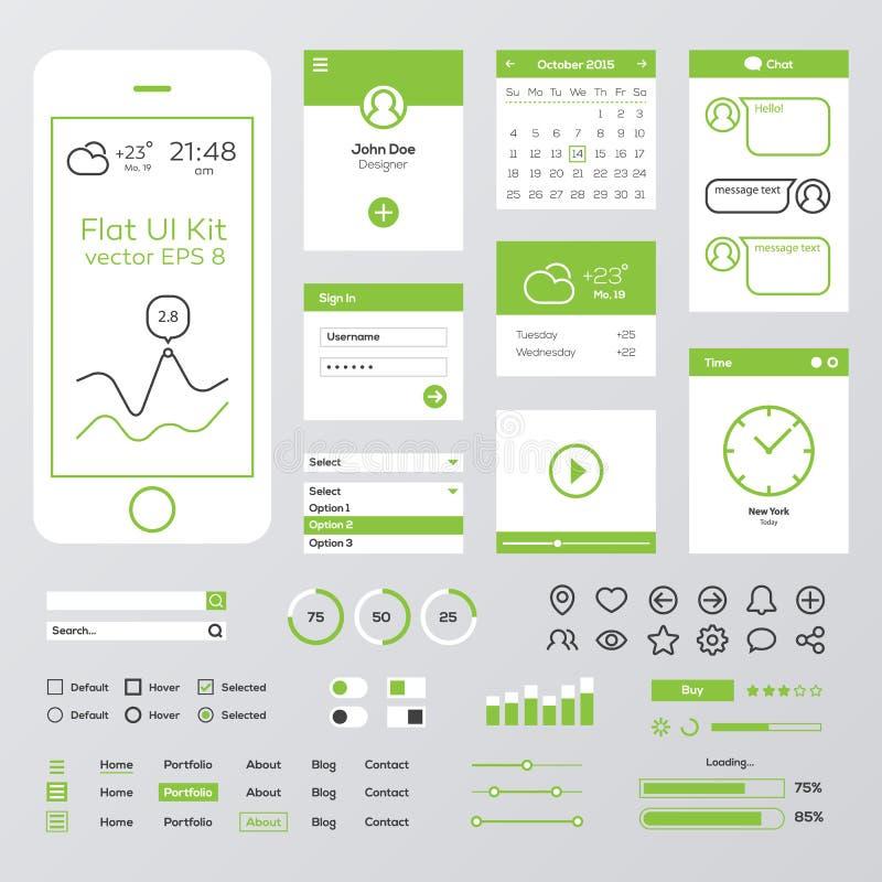 平的绿色流动网UI成套工具 库存例证