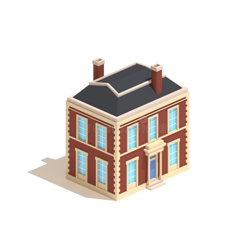平的3d式样等量在白色背景隔绝的公寓英国房子 库存例证