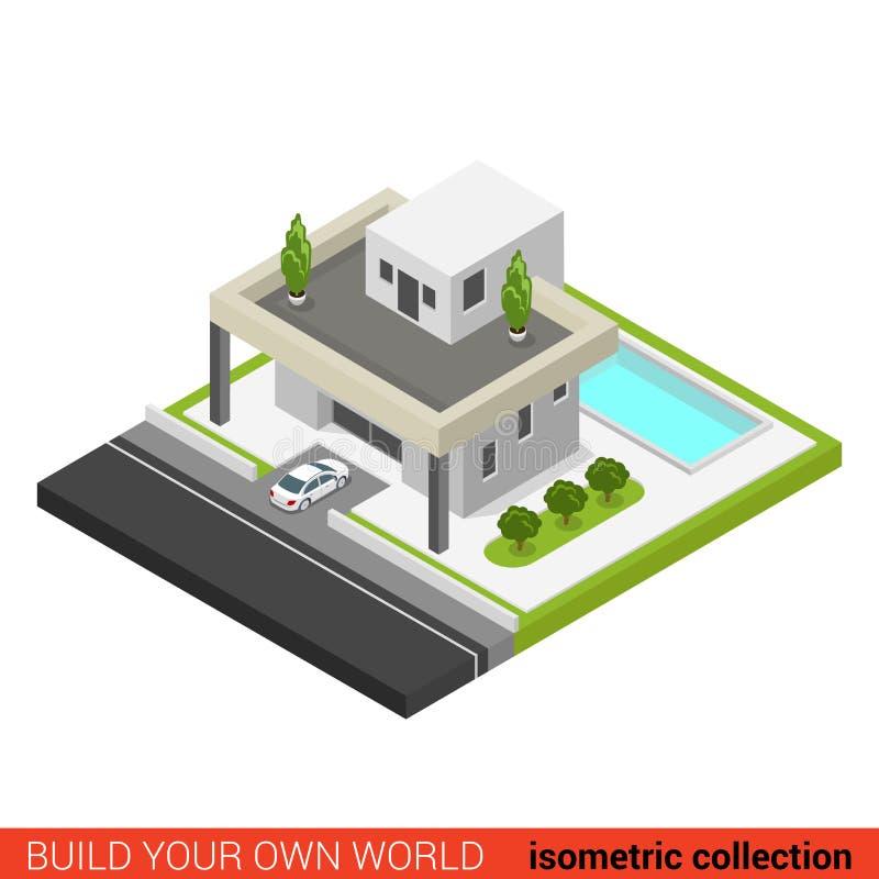 平的3d等量传染媒介家庭房子后院水池大厦 向量例证