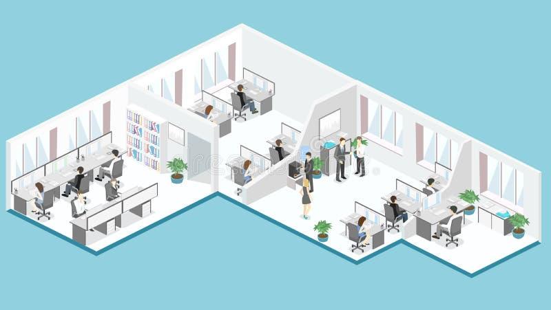 平的3d等量办公室地板内装部概念传染媒介 皇族释放例证