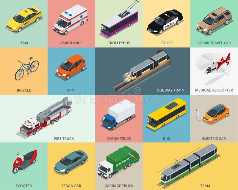 平的3d等量城市运输象集合 出租汽车 皇族释放例证