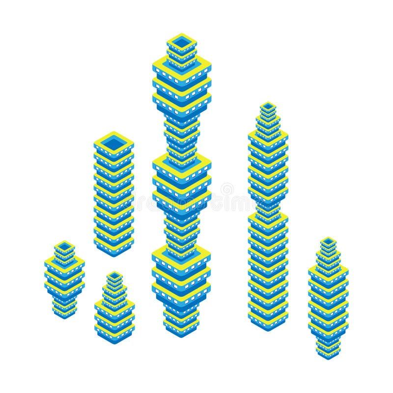 平的3d等量套摩天大楼 结构商务中心例证主题 背景查出的白色 库存例证