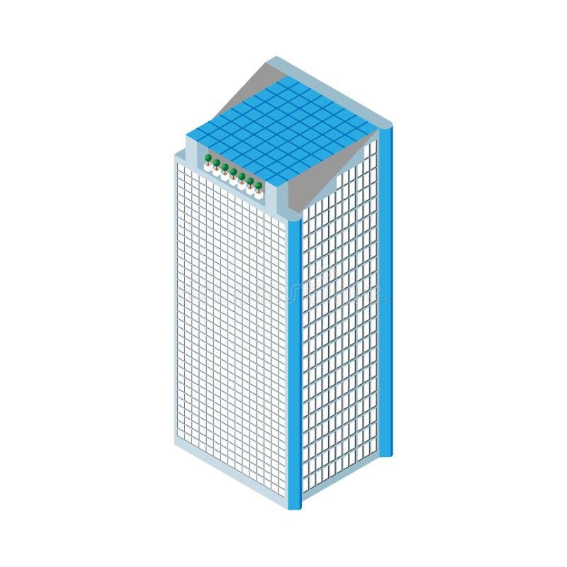 平的3d等量摩天大楼 结构商务中心例证主题 在屋顶和两个电梯的太阳电池板 背景查出的白色 对比赛 库存例证