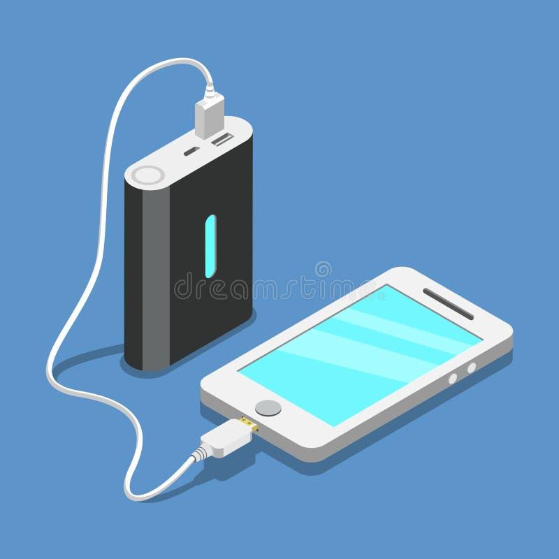 平的3d等量智能手机usb连接 皇族释放例证