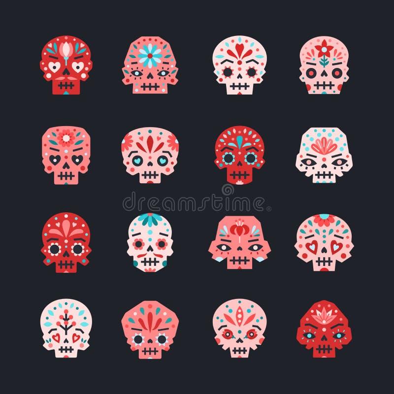 平的colorfull头骨传染媒介设置了红色,桃红色和蓝色 库存例证