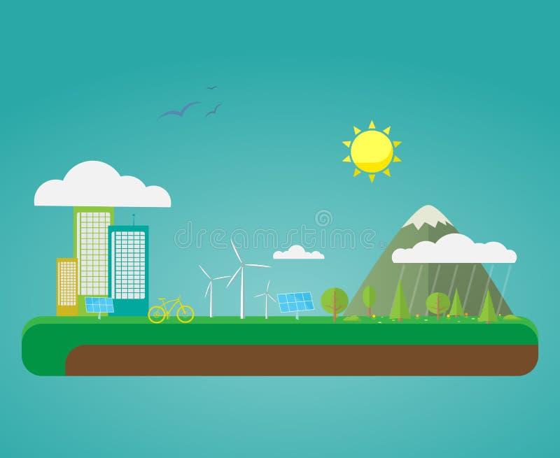 平的Eco自然城市 皇族释放例证