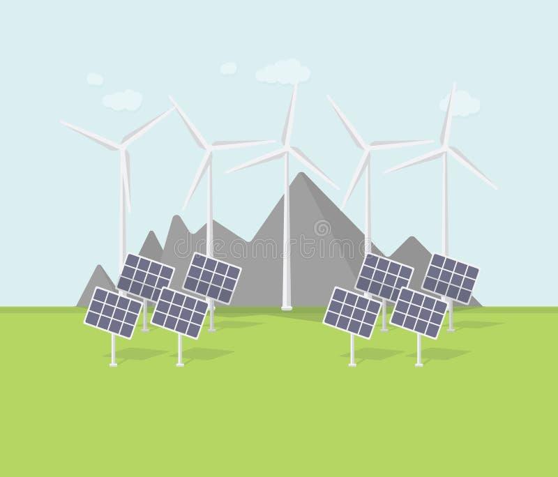 平的eco设计,与风车,太阳电池板,山的农村风景 向量例证