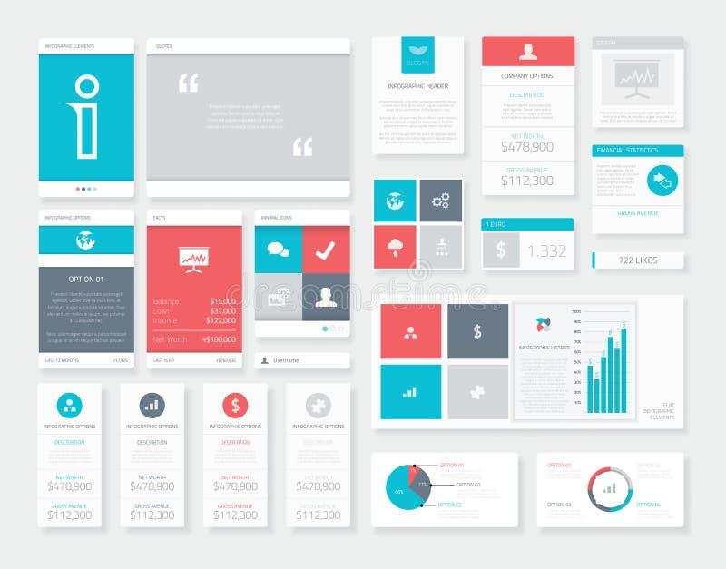 平的Ui Infographics传染媒介成套工具 流动数据形象化组装 库存例证