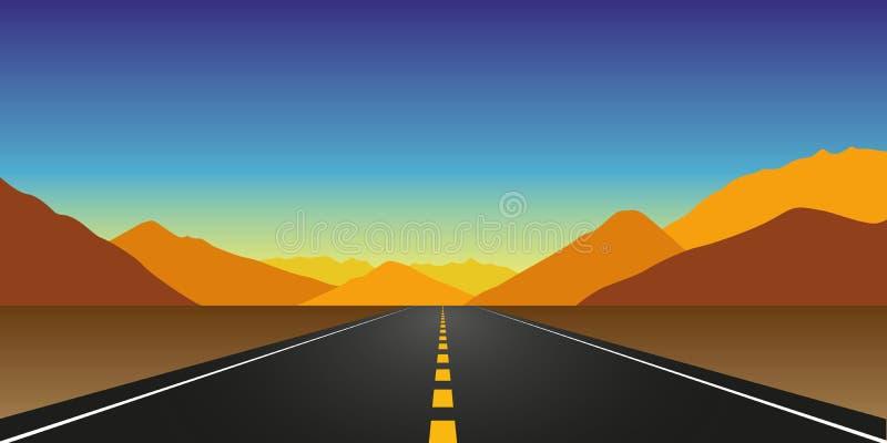 平直的柏油路在山的秋天环境美化 向量例证