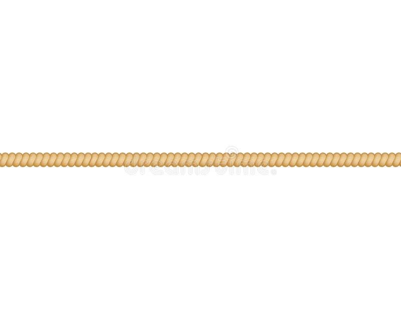 平直的绳索海洋绳索或扭转的绳子传染媒介在白色背景 向量例证