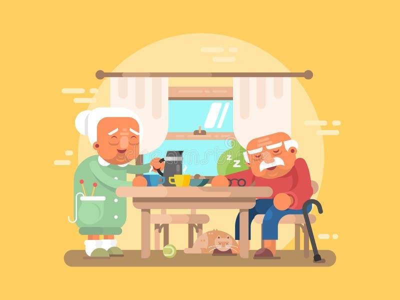 Download 平祖父母的早餐 向量例证. 插画 包括有 父亲, 老婆婆, 母亲, 图象, 头发, 概念, 字符, 祖父 - 72361640