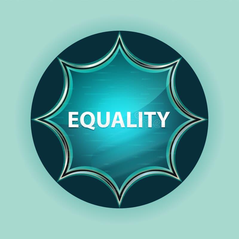 平等不可思议的玻璃状旭日形首饰蓝色按钮天蓝色背景 向量例证