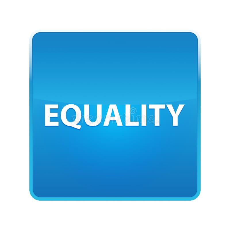 平等发光的蓝色方形的按钮 库存例证